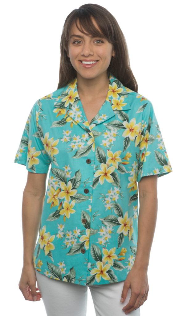 Plumerias Orchids Turquoise Aloha Shirt